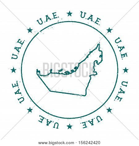 United Arab Emirates Vector Map. Retro Vintage Insignia With Country Map. Distressed Visa Stamp With