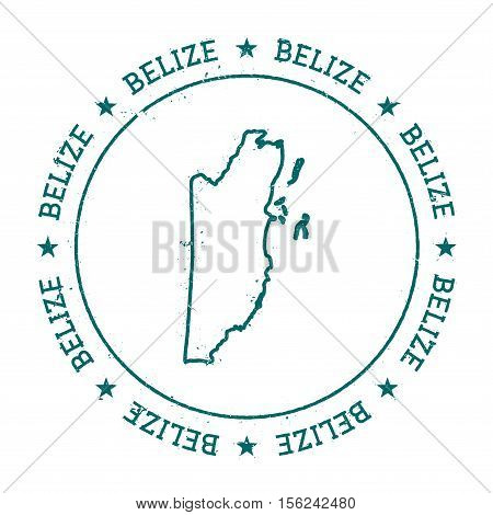 Belize Vector Map. Retro Vintage Insignia With Country Map. Distressed Visa Stamp With Belize Text W