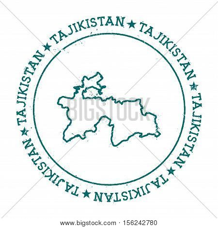 Tajikistan Vector Map. Retro Vintage Insignia With Country Map. Distressed Visa Stamp With Tajikista