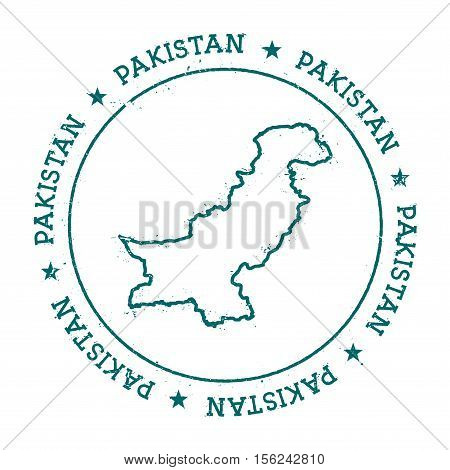 Pakistan Vector Map. Retro Vintage Insignia With Country Map. Distressed Visa Stamp With Pakistan Te
