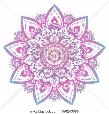 Outline Flower Mandala. Decorative Ornament. Floral Design Element. Flower Vector Mandala. Hippie St
