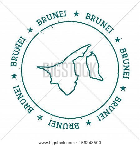 Brunei Darussalam Vector Map. Retro Vintage Insignia With Country Map. Distressed Visa Stamp With Br