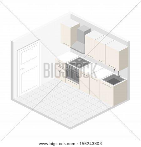 Isometric Flat 3D Interior Of Modern Kitchen.