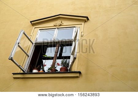 Open window in the old town of Prague