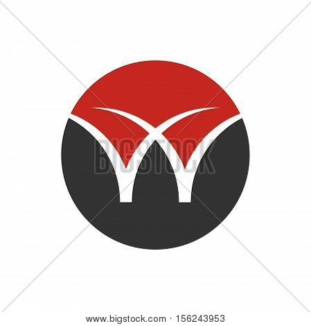 W letter in circle logo design, w letter initial