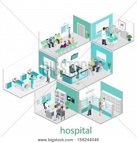 Isometric Flat Interior Of Hospital Room, Pharmacy, Doctor's Office, Waiting Room, Reception, Dentis