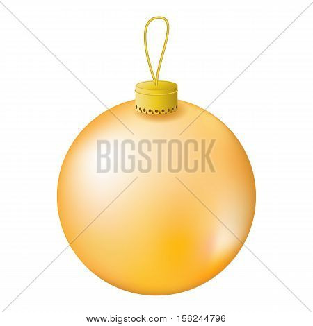 Gold Christmas tree ball realistic vector illustration. Christmas fir tree ornament isolated on white. Realistic fir tree ornament clipart. New Year decor. Gold ornament for winter holiday design