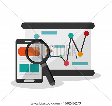 Smartphone and lupe icon. Digital marketing media ecommerce seo and business theme. Isolated design. Vector illustration