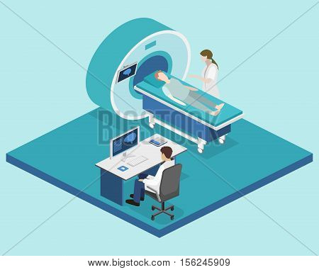 Isometric Flat 3D Concept Vector Hospital Medical Mri Web Illustration.