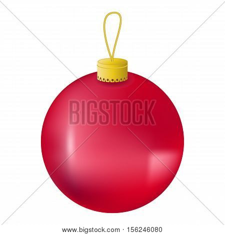 Red Christmas tree ball realistic vector illustration. Christmas fir tree ornament isolated on white. Realistic fir tree ornament clipart. New Year decor. Red ornament for winter holiday design
