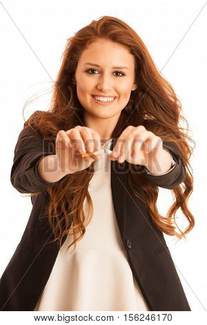 Quit Smoking - Woman Breaking Cigarette Isolated Over White Background