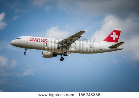 Swiss Airbus A-320 At Maribor Airport Ljmb