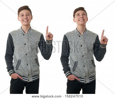 Set of cute teenager boy in gray sweater pointing up over white isolated background, half body