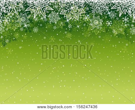 Green christmas background with snowflakes and stars vector illustration