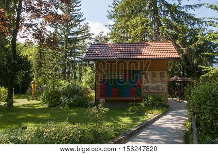 Mozirje, Slovenia - May 5 2014: Traditional Colorful And Picturesque Wooden Bee Hive In Slovenia