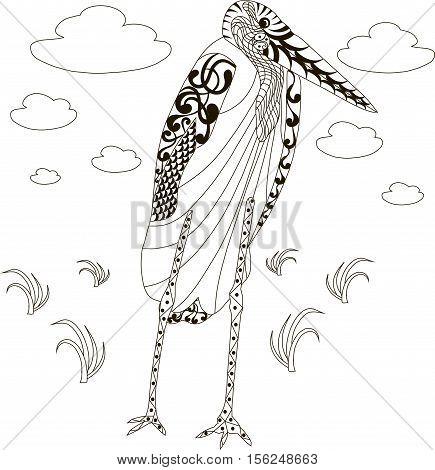Hand drawn zentangle african marabou stork, black and white anti stress vector illustration