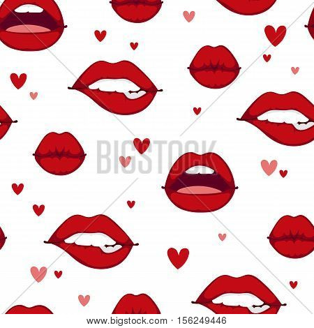 Female lips seamless pattern isolated on white background. Passion makeup mouth. Set woman lips romance cosmetic sensuality desire. Set of mouth smile woman red lips isolated shape romantic emotions