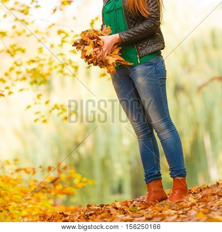 Girl Is About To Throw Leaves Up.