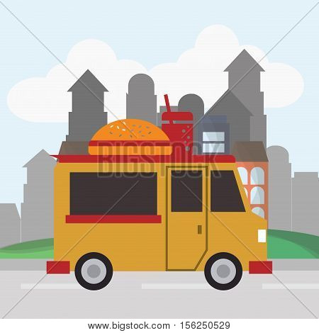 Hamburger food truck icon. Urban american culture menu and consume theme. Colorful design. Vector illustration