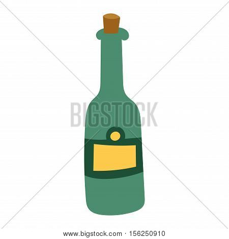 Champagne wine in a bottle isolated on white background and vector drink. Glass of champagne alcohol beverage celebration grape merlot. Gourmet restaurant party alcohol champagne.