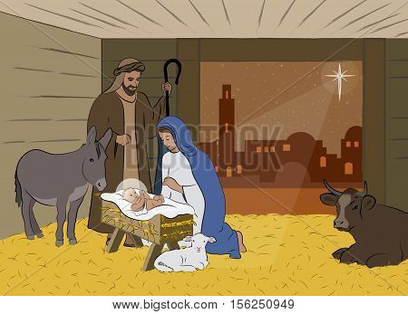 Traditional Christian Christmas Nativity Scene of baby Jesus in the manger with Mary and Joseph, surrounded by the animals, Traditional Christian Christmas Nativity Scene of baby Jesus in the manger with Mary and Joseph, surrounded by the animals.