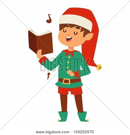 Santa Claus kids cartoon elf helper vector illustration. Santa Claus elf helper children. Santa helper traditional costume isolated on background. Santa elf helper christmas kid