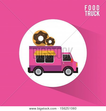 Donut food truck icon. Urban american culture menu and consume theme. Colorful design. Vector illustration