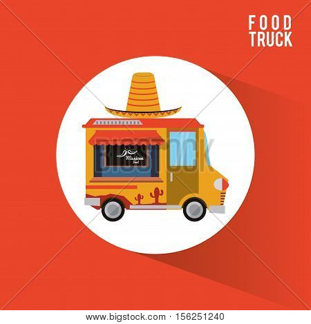 Mexican food truck icon. Urban american culture menu and consume theme. Colorful design. Vector illustration