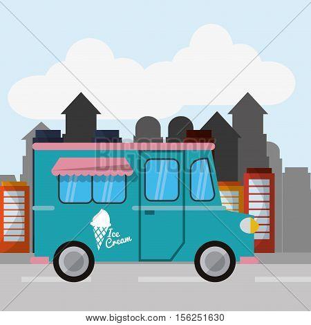 Ice cream food truck icon. Urban american culture menu and consume theme. Colorful design. Vector illustration