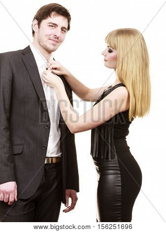 Woman Helping Man Dress Up Elegant Clothes.