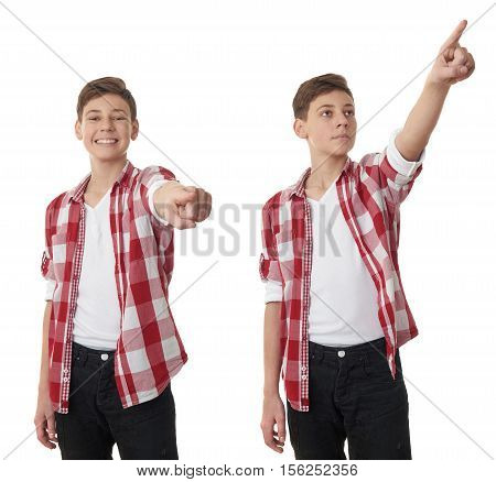 Set of cute teenager boy in red checkered shirt pointing forward over white isolated background, half body