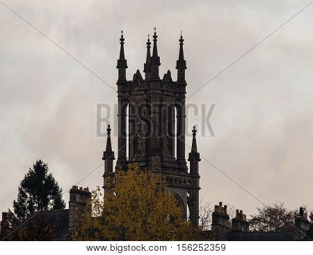 St. Stephen's Church spire, in Bath. A church positioned above the UNESCO World Heritage city of Bath Somerset UK