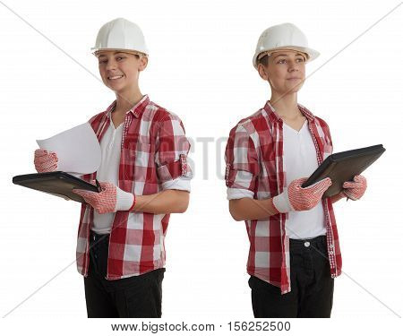 Set of cute teenager boy in red checkered shirt, building helmet and folder over white isolated background, half body, constructing concept