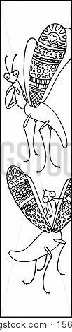 Cute Mantis insect doodle ink drawing. Mantis vector illustration for coloring or bookmark. Outlined scene from micro nature. Mantis with open wings vector coloring. Doodle insects on white background