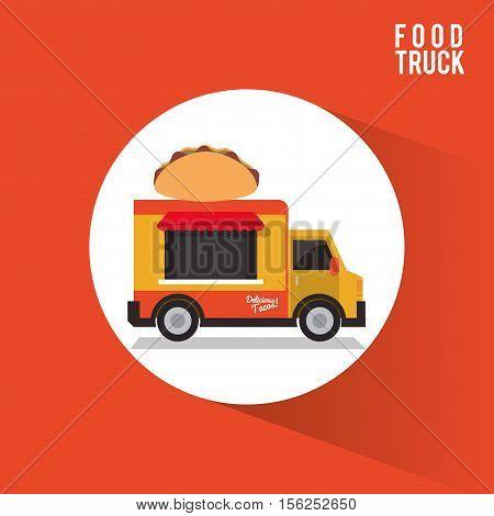 Taco food truck icon. Urban american culture menu and consume theme. Colorful design. Vector illustration