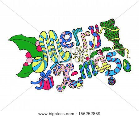 Merry Christmas colorful doodle vector illustration. Multicolored doodle Christmas card. Han-drawn lettering isolated on white. Nursery or child drawing style Christmas greeting. Merry X-mas design