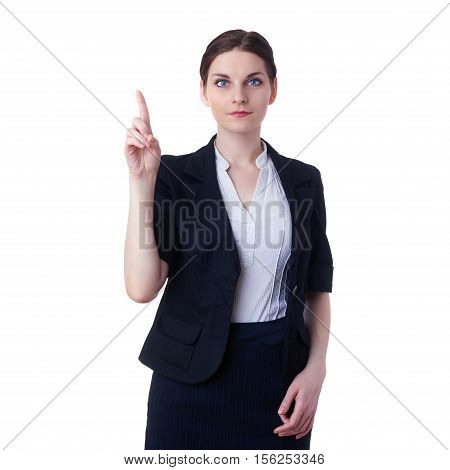 Smiling businesswoman standing over white isolated background pointiong or pushing virtual button, business, education, office concept