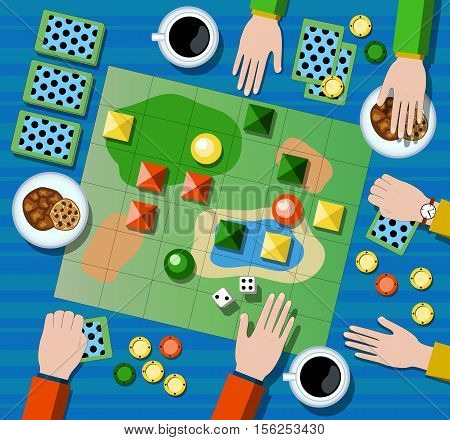 Table game flat vector illustration. Family board game with player's hands. Board game on table with map and playing cards chips dices. Table with coffee cups cookies and board game. Playing arena