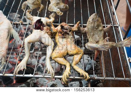Raw frogs grilled on a hot barbecue charcoal sieve selling at local market Thailand