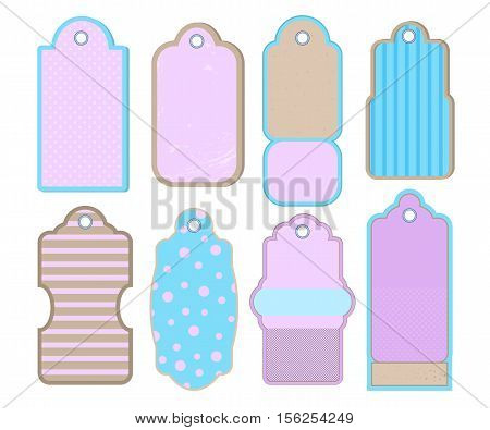 Retro style tags or labels. Vintage design elements vector clipart on white background. Pink mint and crafted paper printable tag. Retro tag for sale. Product label discount offer. Blank retro labels