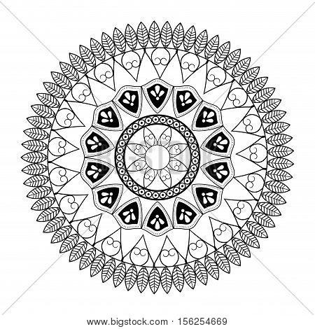 Mandale icon. Bohemic ornament indian and decoration theme. Black and white design. Vector illustraton