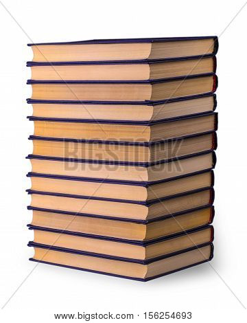 Stack of old books on the white background