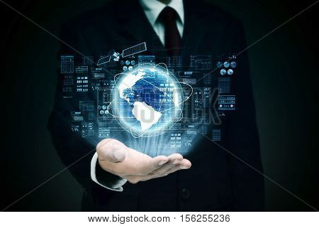Worldwide Internet Business control at the hand of businessman