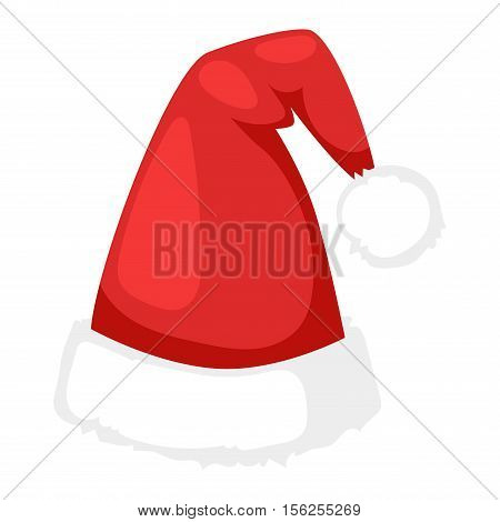Just red christmas santa hat at white background. Cold x-mas symbol fluffy santa christmas hat. Winter white fluffy fur holiday santa christmas hat traditional snow fuzzy accessory.