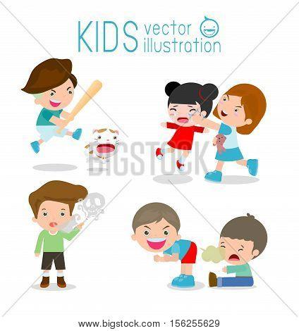 Bad kids Behavior, bad boy, bad girl, The evil of child on white background. Vector Illustration