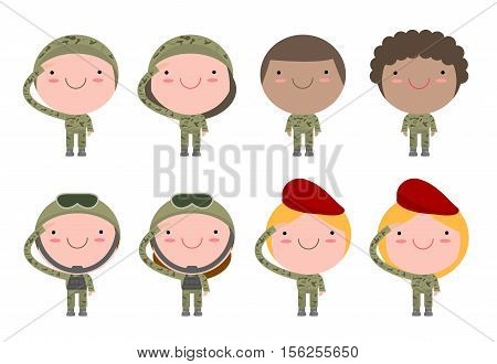set of soldiers. men and women. flat cartoon character design isolated on white background. US Army , soldiers Isolated vector illustration.