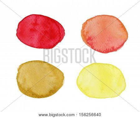 Abstract vector blots with watercolor effect in red and yellow palette. Multicolored stains with watercolor effect. Watercolor speech bubble. Watercolor text cloud. Watercolor spots isolated on white