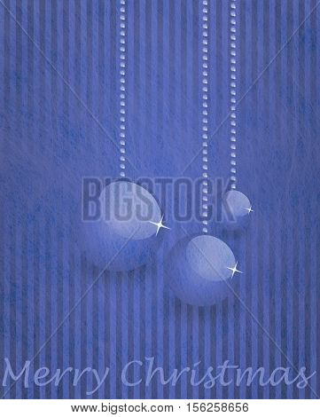Grey fiber fabric and blau glitter film and christmas balls and the words Merry Christmas, christmas card