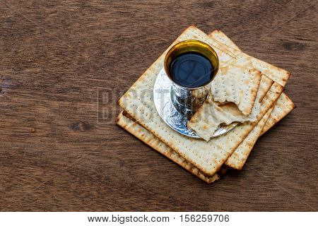 Jewish Holiday Passover Background With Wine And Seder Plate
