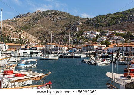 Yachting Marina of the island of Hydra, Greece.